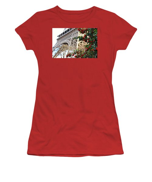 Eiffel Tower In Winter Women's T-Shirt (Junior Cut) by Katie Wing Vigil
