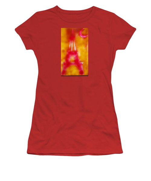 Women's T-Shirt (Junior Cut) featuring the painting Eiffel Tower Red Glow by Don Koester