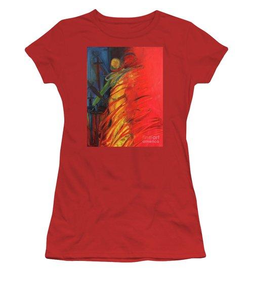 Women's T-Shirt (Junior Cut) featuring the painting Eight Of Swords by Daun Soden-Greene