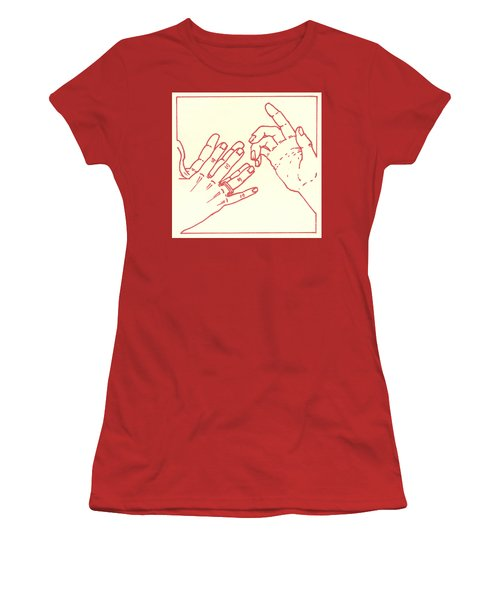 Women's T-Shirt (Athletic Fit) featuring the drawing Eighth Station- The Women Of Jerusalem Weep Over Jesus  by William Hart McNichols
