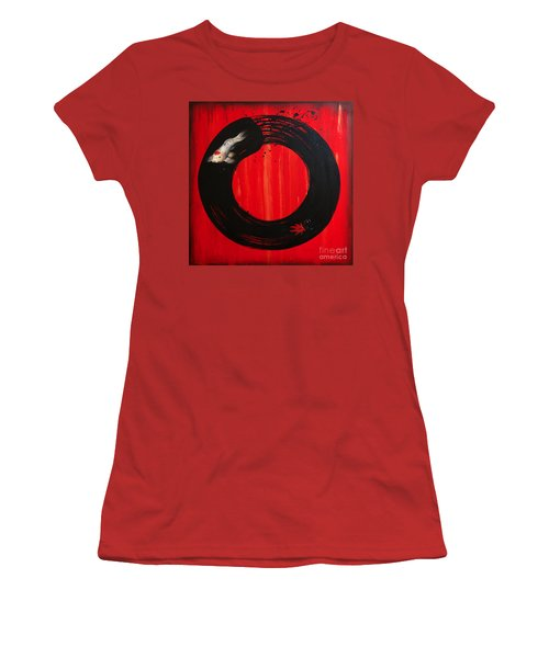 Enso With Koi Red And Gold Women's T-Shirt (Junior Cut) by Sandi Baker