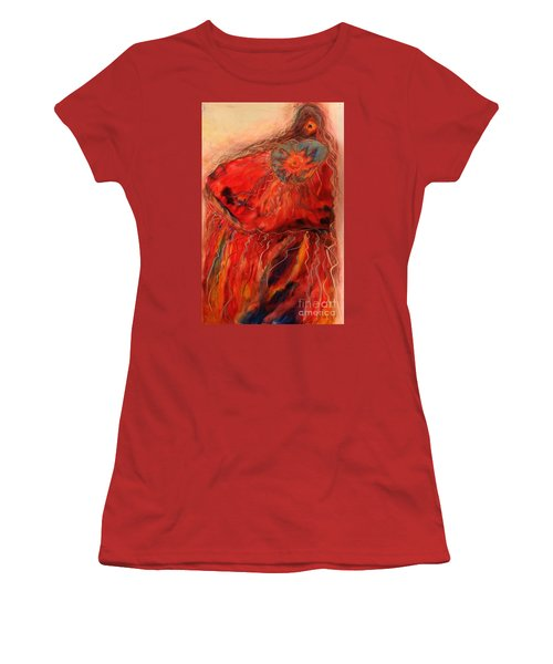 Women's T-Shirt (Junior Cut) featuring the painting Fancy Shawl Dancer by FeatherStone Studio Julie A Miller