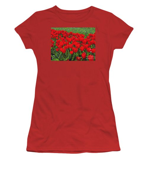 Field Of Red Tulips Women's T-Shirt (Athletic Fit)
