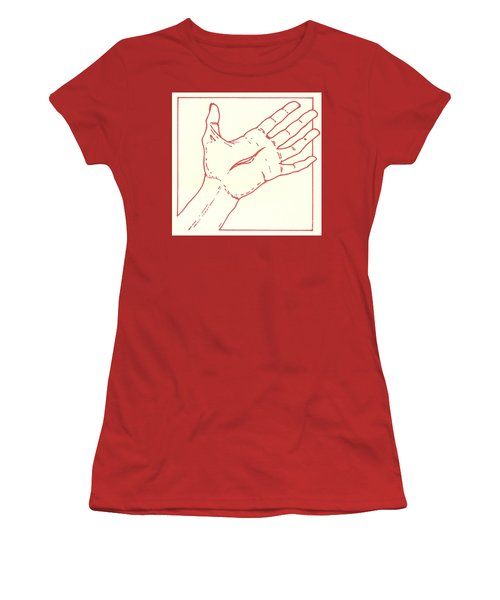 Women's T-Shirt (Athletic Fit) featuring the drawing Fifteenth Station- Jesus Rises From The Dead by William Hart McNichols