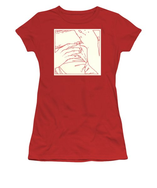 Women's T-Shirt (Athletic Fit) featuring the drawing Fifth Station- Simon Of Cyrene Helps Jesus To Carry His Cross  by William Hart McNichols