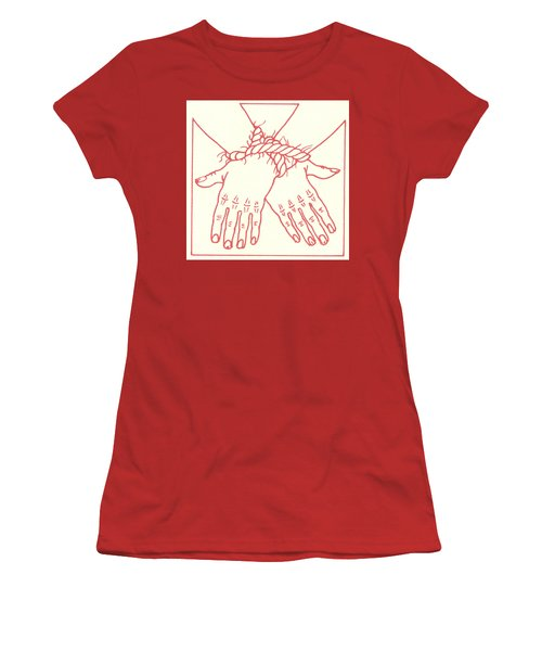 Women's T-Shirt (Athletic Fit) featuring the drawing First Station- Jesus Is Condemned To Death  by William Hart McNichols