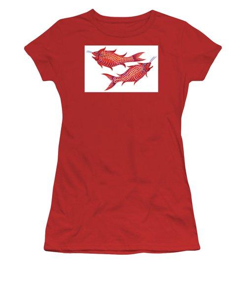 Fish Pisces Women's T-Shirt (Junior Cut) by Jane Tattersfield