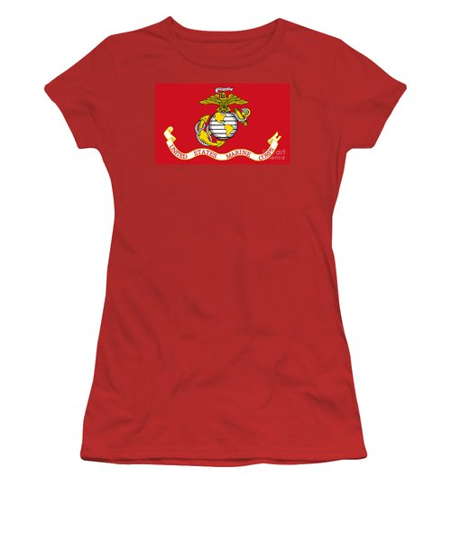 Women's T-Shirt (Junior Cut) featuring the painting Flag Of The United States Marine Corps by Pg Reproductions
