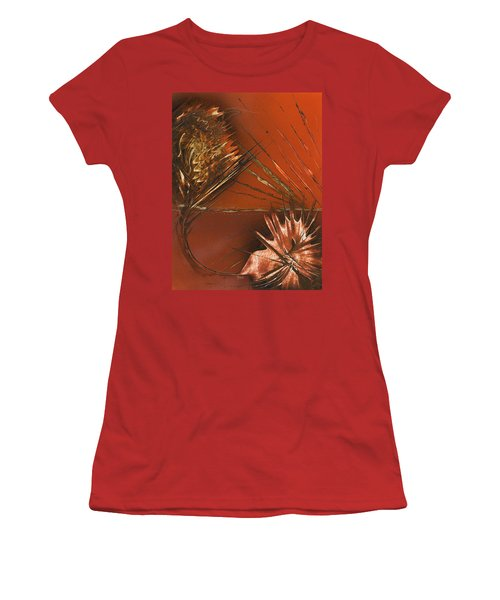 Flower Abstract In Orange And Brown Women's T-Shirt (Athletic Fit)