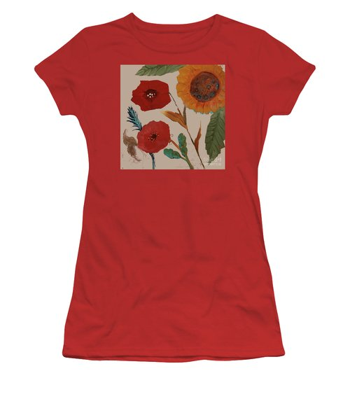 Women's T-Shirt (Athletic Fit) featuring the painting Flowers Blowing In The Wind by Robin Maria Pedrero