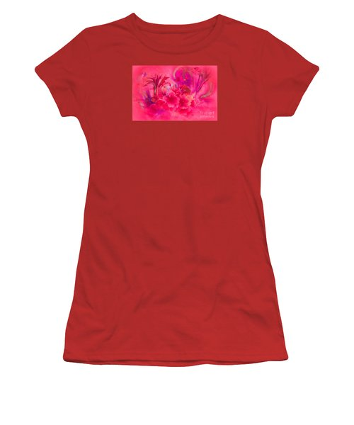 Women's T-Shirt (Junior Cut) featuring the painting Flower Art Pinky Pink  by Sherri  Of Palm Springs