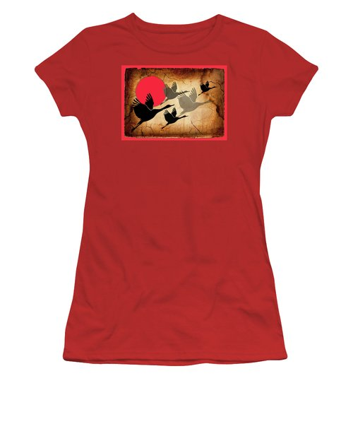 Flying Cranes Women's T-Shirt (Athletic Fit)