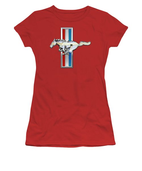 Ford Mustang - Tri Bar And Pony 3 D Badge On Red Women's T-Shirt (Athletic Fit)