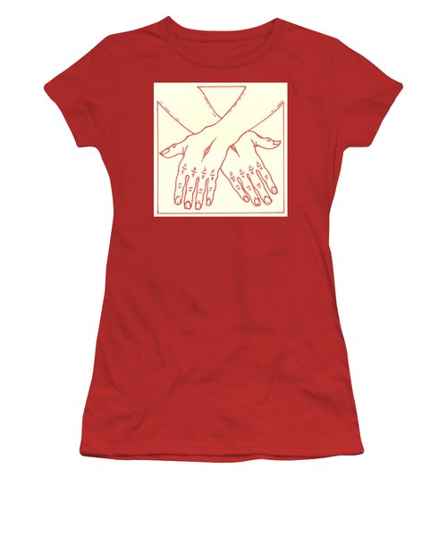 Women's T-Shirt (Athletic Fit) featuring the drawing Fourteenth Station- Jesus Is Laid In The Sepulcher  by William Hart McNichols