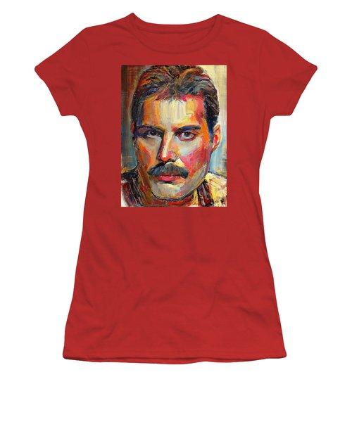 Freddie Mercury Colorful Portrait Women's T-Shirt (Athletic Fit)