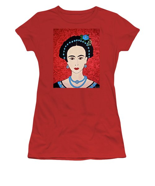 Frida With Blue Flowers Women's T-Shirt (Junior Cut) by Stephanie Moore