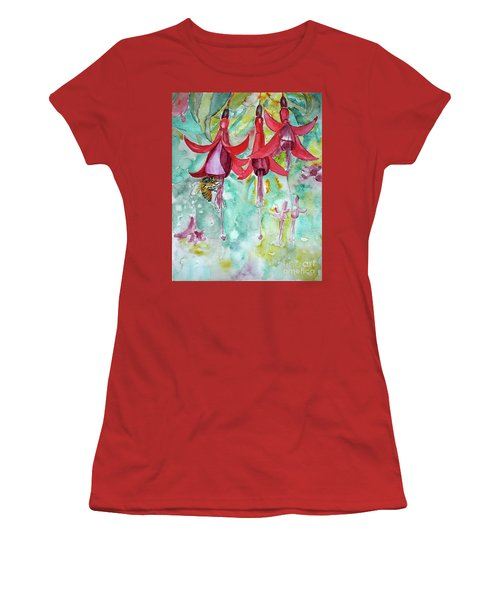 Women's T-Shirt (Junior Cut) featuring the painting  Fuchsia by Jasna Dragun