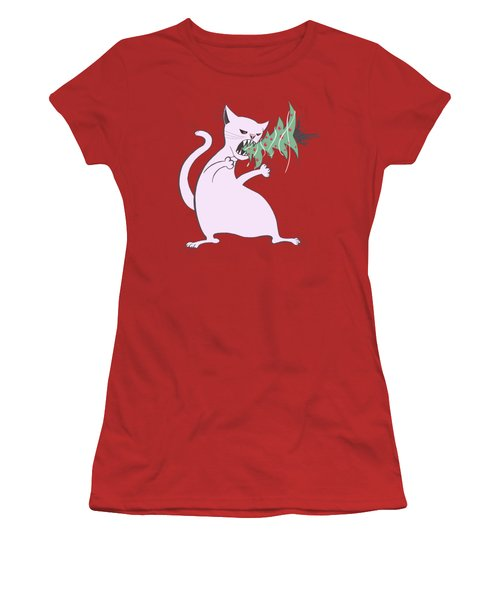 Funny White Cat Eats Christmas Tree Women's T-Shirt (Athletic Fit)