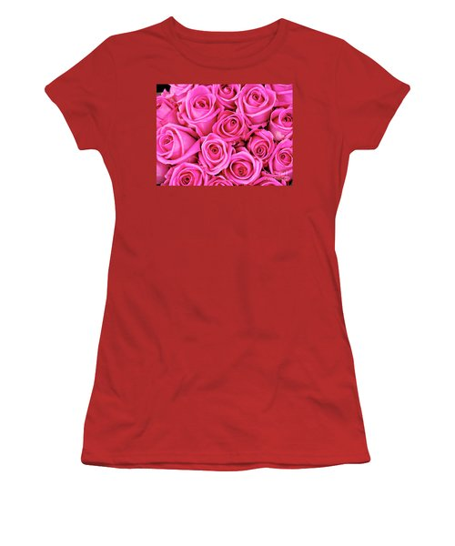 Fuschia Colored Roses Women's T-Shirt (Athletic Fit)