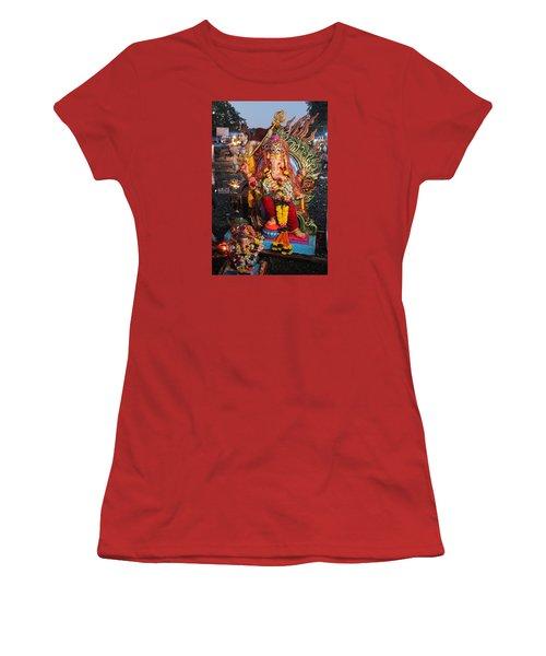 Ganesha Arati On Ganesh Chaturthi, Ganeshpuri Women's T-Shirt (Athletic Fit)