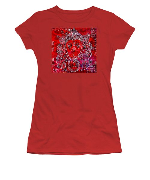 Women's T-Shirt (Junior Cut) featuring the painting Ganesha by Julie Hoyle