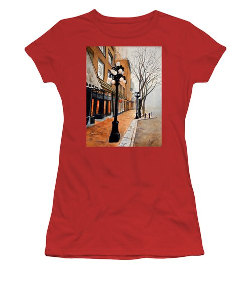 Women's T-Shirt (Junior Cut) featuring the painting Gastown, Vancouver by Sher Nasser