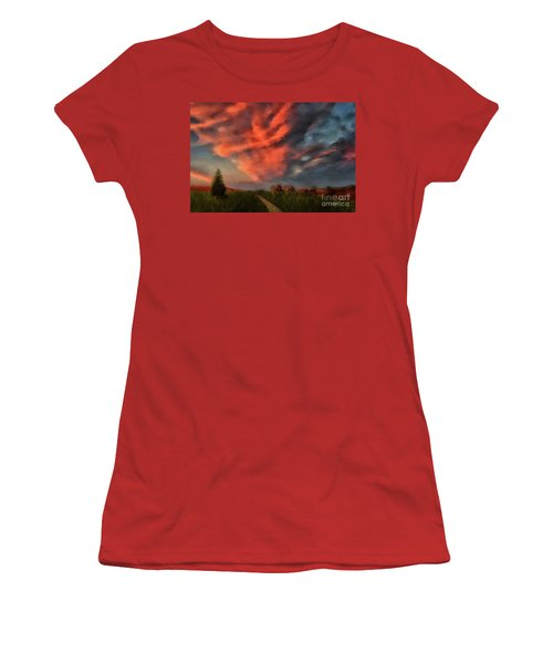Women's T-Shirt (Athletic Fit) featuring the digital art Going Home by Lois Bryan