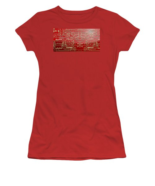 Gold Circuitry On Red Women's T-Shirt (Athletic Fit)