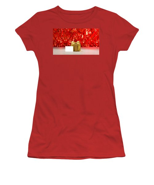 Women's T-Shirt (Junior Cut) featuring the photograph Gold Present With Place Card  by Ulrich Schade