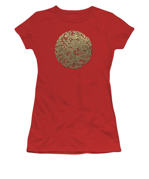 Golden Chinese Dragon On Red Leather Women's T-Shirt (Junior Cut) by Serge Averbukh