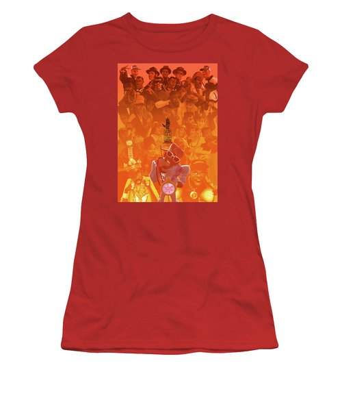 Women's T-Shirt (Junior Cut) featuring the digital art Golden Era Icons Collage 1 by Nelson dedos Garcia