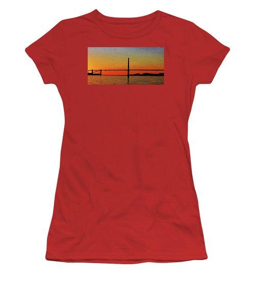 Women's T-Shirt (Athletic Fit) featuring the digital art Golden Gate Bridge Panoramic by PixBreak Art