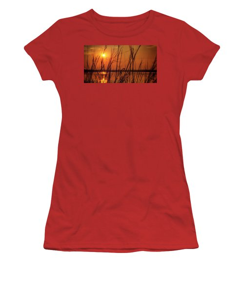Golden Sunset At The Lake Women's T-Shirt (Junior Cut) by John Williams