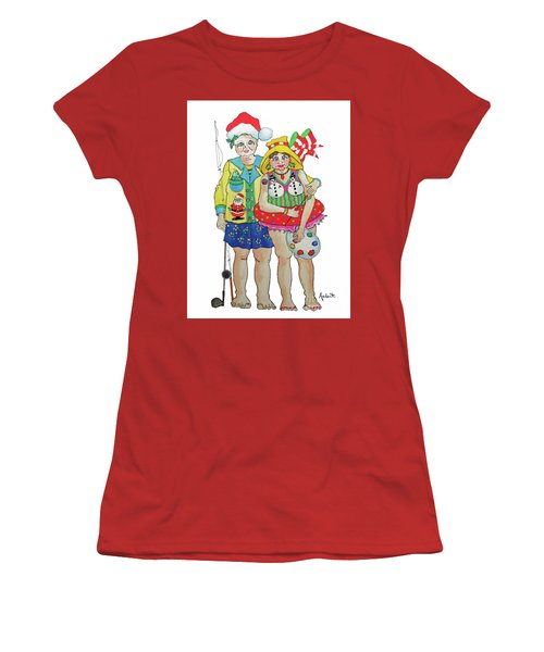 Women's T-Shirt (Junior Cut) featuring the painting Gram - Cracker And Papa by Rosemary Aubut