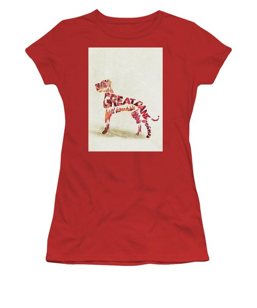 Women's T-Shirt (Athletic Fit) featuring the painting Great Dane Watercolor Painting / Typographic Art by Ayse and Deniz