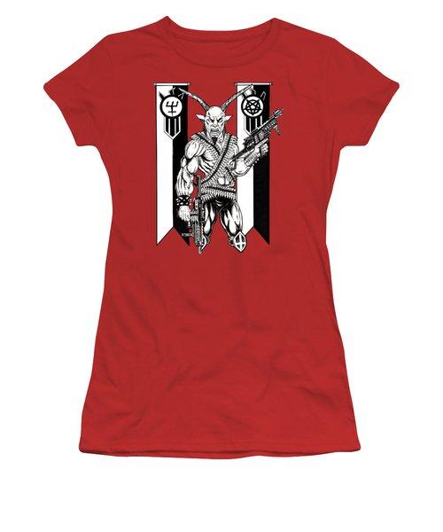 Great Goat War Women's T-Shirt (Junior Cut) by Alaric Barca