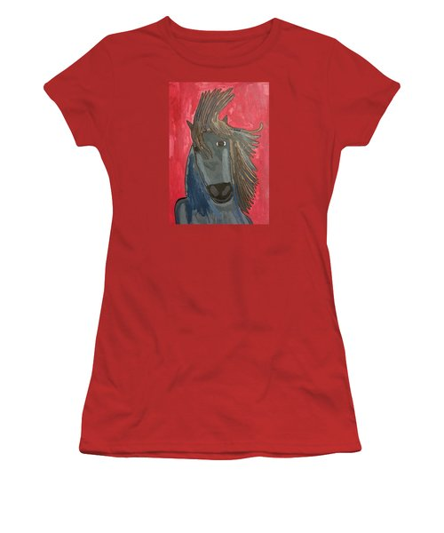 Grey Horse Women's T-Shirt (Junior Cut) by Artists With Autism Inc