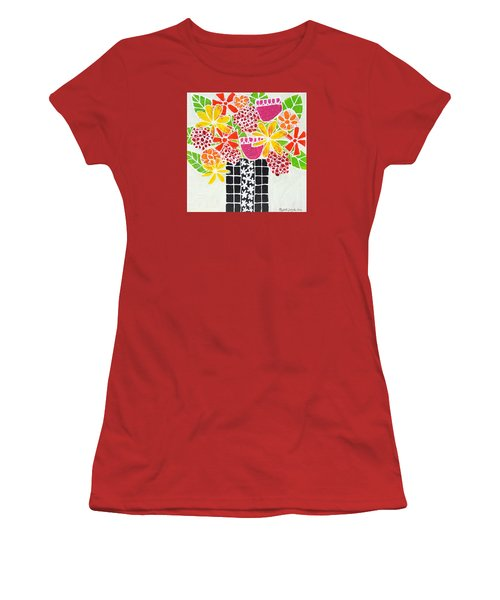 Happy Flowers Women's T-Shirt (Athletic Fit)