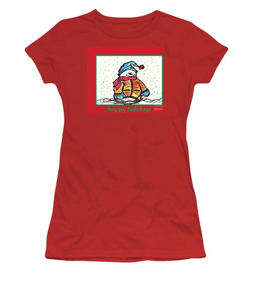 Happy Holidays Snowman Women's T-Shirt (Athletic Fit)