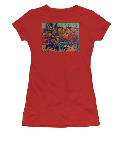 Women's T-Shirt (Junior Cut) featuring the painting Harbingers by Bernard Goodman