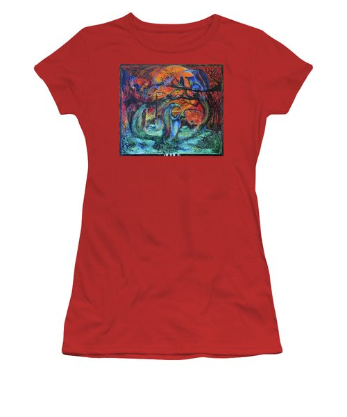 Women's T-Shirt (Junior Cut) featuring the painting Harvesters Of The Autumnal Swamp by Christophe Ennis