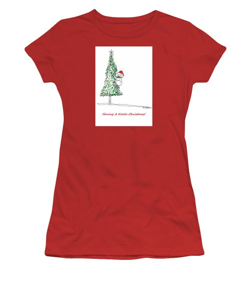 Having A Koala Christmas Women's T-Shirt (Junior Cut) by Denise Fulmer