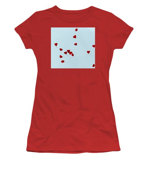 Heart Balloons In The Sky Women's T-Shirt (Athletic Fit)