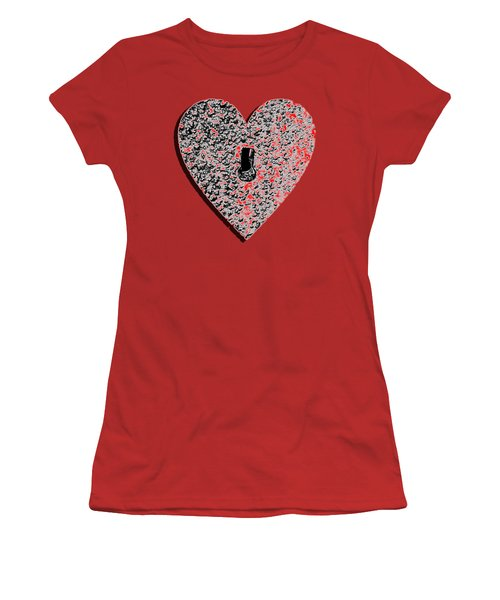 Women's T-Shirt (Junior Cut) featuring the photograph Heart Shaped Lock Red .png by Al Powell Photography USA