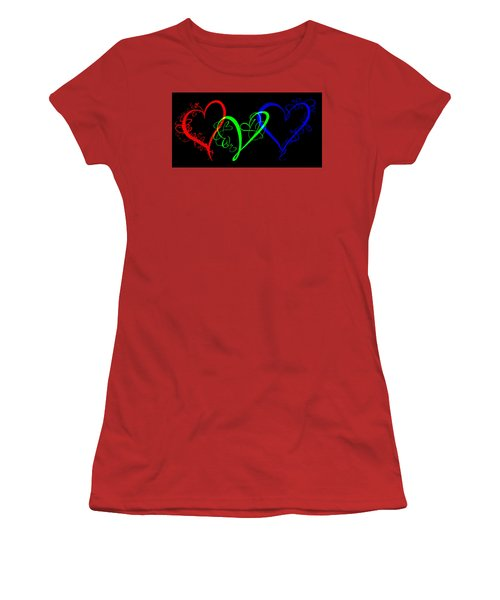 Hearts On Black Women's T-Shirt (Athletic Fit)