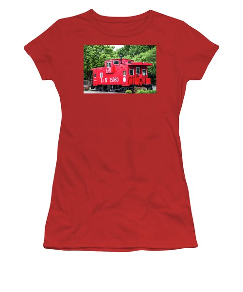 Women's T-Shirt (Junior Cut) featuring the photograph Helena Red Caboose by Parker Cunningham