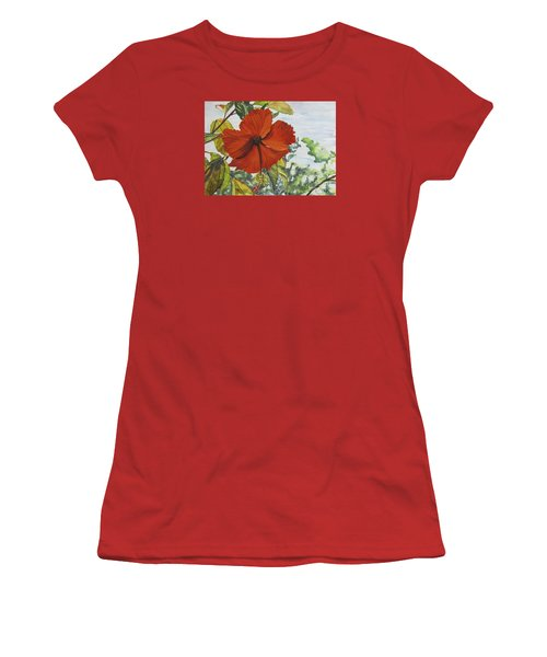 Hibiscus St Thomas Women's T-Shirt (Junior Cut) by Carol Flagg