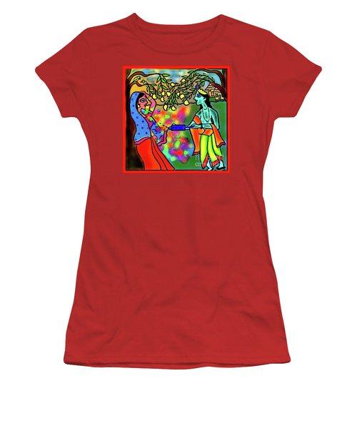 Holi Women's T-Shirt (Junior Cut) by Latha Gokuldas Panicker