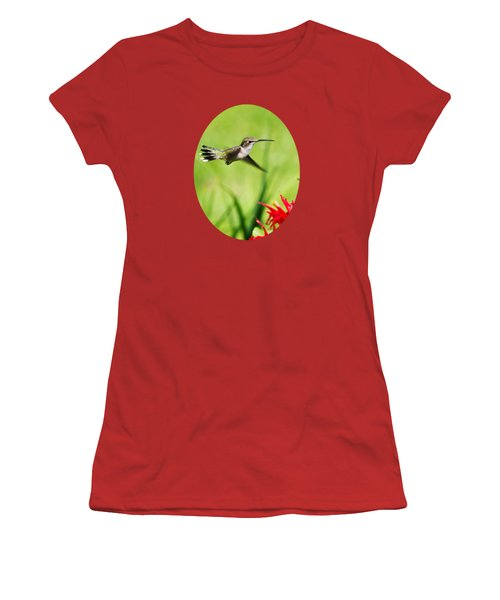 Hummingbird Hovering Over Flowers Women's T-Shirt (Athletic Fit)