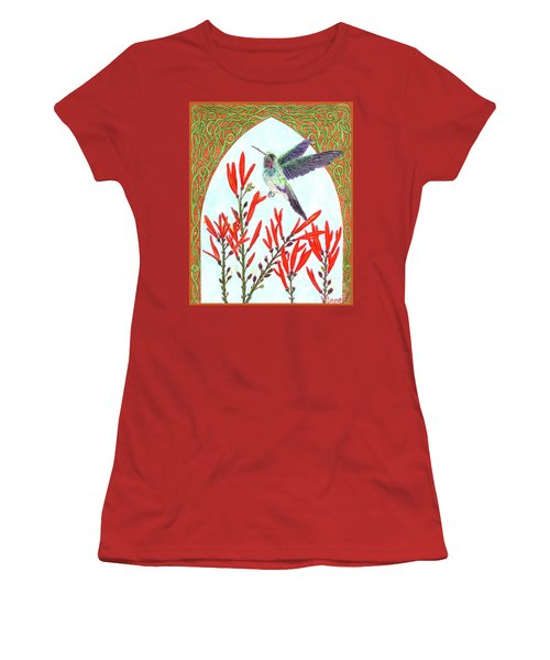 Hummingbird In Opening Women's T-Shirt (Junior Cut) by Lise Winne